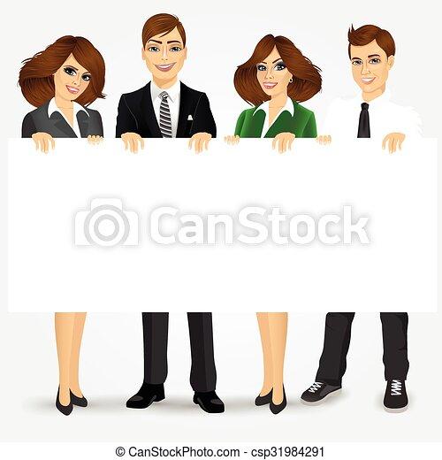 panneau affichage, businesspeople, tenue, vide - csp31984291