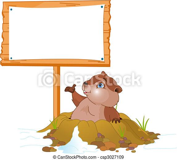 panneau affichage, marmotte amérique, jour - csp3027109
