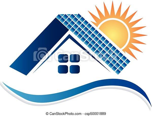 panneaux, logo, maison, solaire - csp50001889