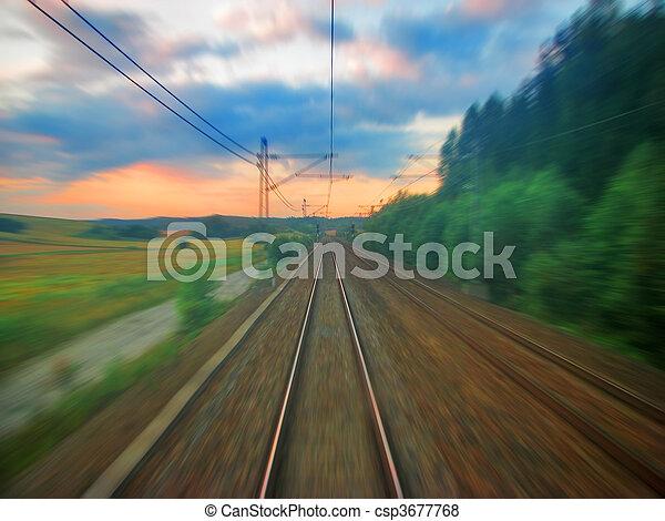 panorâmico, pôr do sol, ferrovia - csp3677768