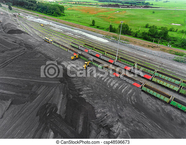 Panorama aerial view shot on railroad tracks with wagons - csp48596673