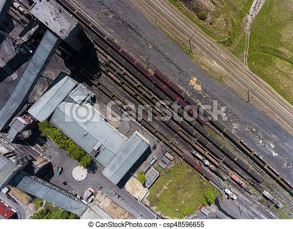 Panorama aerial view shot on railroad tracks with wagons - csp48596655