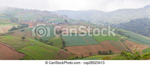 panorama agricultural lands in the mountains - csp28523413