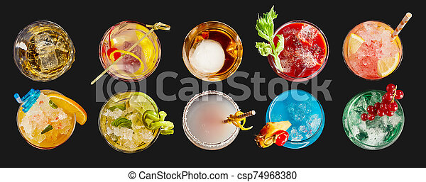 Panorama banner with exotic alcoholic cocktails - csp74968380