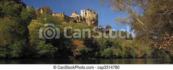 Panorama, Castle Montfort , valley, forest, autumn, - csp3314780