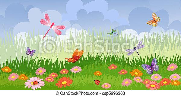 Panorama floral lawn - csp5996383