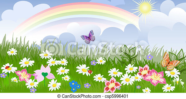 Panorama floral lawn - csp5996401