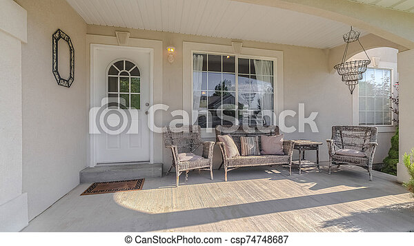 Panorama frame Traditional home veranda and deck with no people - csp74748687