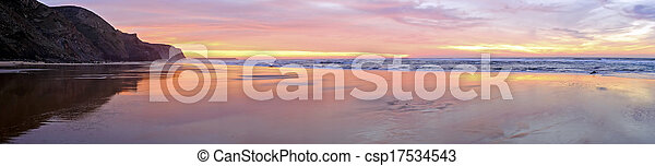 Panorama from a beautiful sunset at the atlantic ocean in Portugal - csp17534543