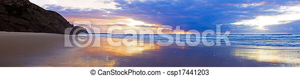 Panorama from a beautiful sunset at the atlantic ocean in Portugal - csp17441203