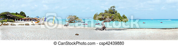 Panorama from eagle beach on Aruba island in the Caribbean sea - csp42439880