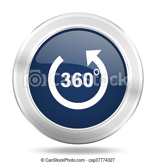 panorama icon, dark blue round metallic internet button, web and mobile app illustration - csp37774327