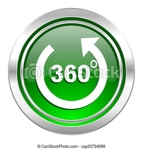 panorama icon, green button - csp23754099