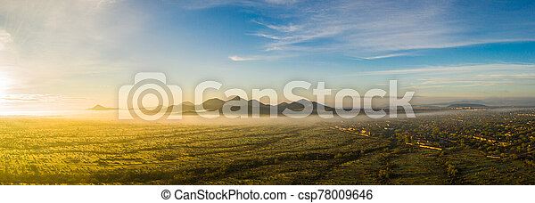 Panorama image from a drone of fog in the Sonoran Desert of Arizona - csp78009646