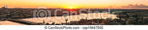 Panorama in Istanbul ay sunset - csp19447500