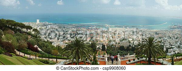 Panorama de famosos jardines de bahai - csp9908060