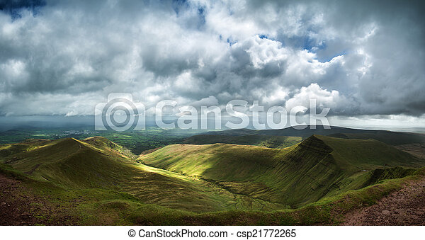 Panorama landscape image of view from peak of Pen-y-fan in Breco - csp21772265