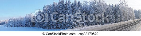 panorama landscape in winter - csp33179879
