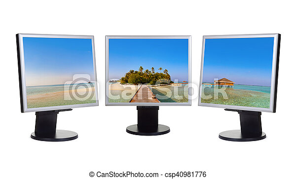 Maldivas panorama en monitores informáticos - csp40981776