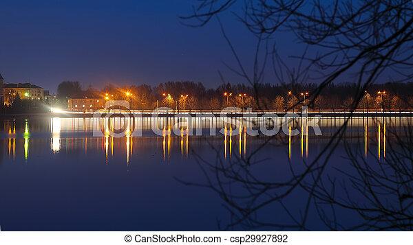 Panorama night city lights - csp29927892