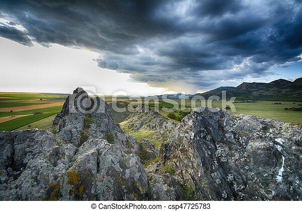 Panorama of a cloudy morning - csp47725783