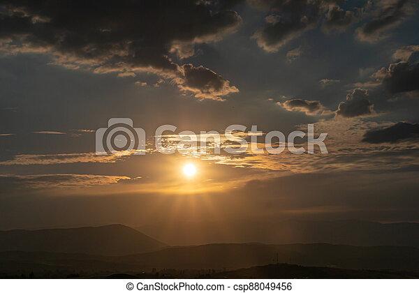 panorama of a fiery sunrise - sunset - csp88049456
