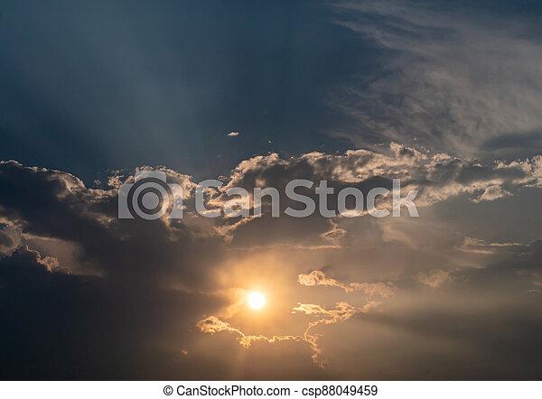 panorama of a fiery sunrise - sunset - csp88049459