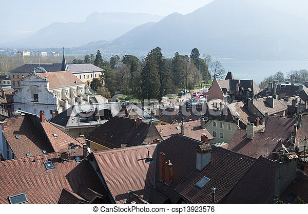 Panorama of Annecy city and lake - csp13923576