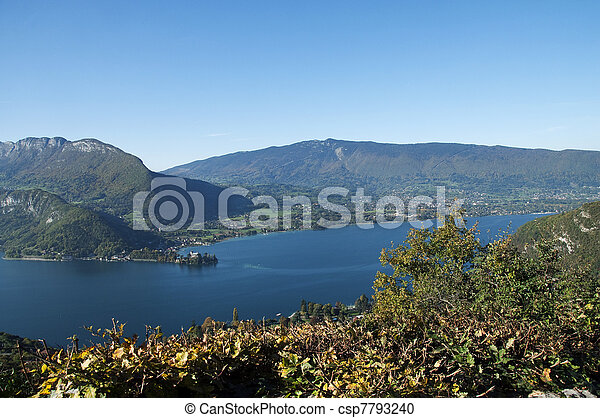 Panorama of Annecy lake at autumn - csp7793240