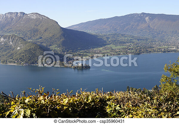 Panorama of Annecy lake, France - csp35960431