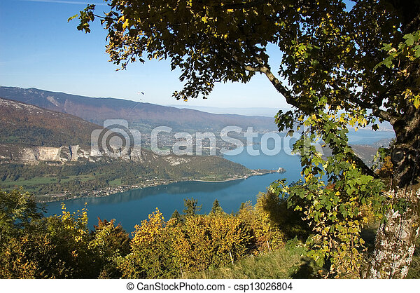 Panorama of annecy lake in France - csp13026804