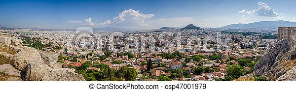 Panorama of Athens and ancient ruins, Greece. - csp47001979
