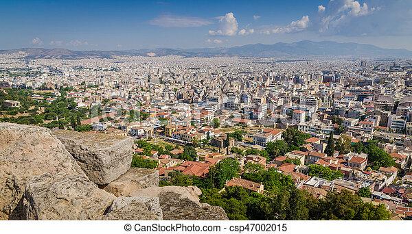 Panorama of Athens and ancient ruins, Greece. - csp47002015
