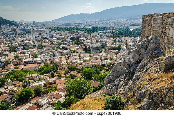 Panorama of Athens and ancient ruins, Greece. - csp47001986