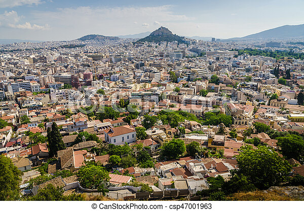 Panorama of Athens and ancient ruins, Greece. - csp47001963