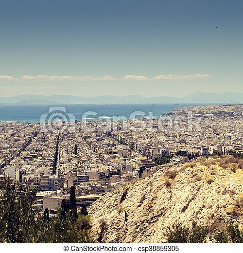 Panorama of Athens, Greece - csp38859305