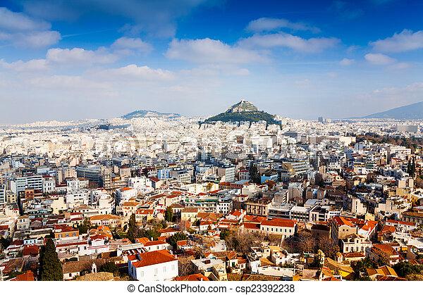 Panorama of Athens, Greece - csp23392238