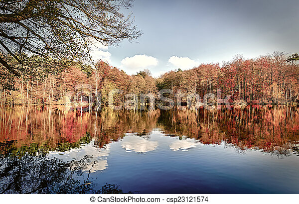 panorama of autumn trees at a glassy lake - csp23121574