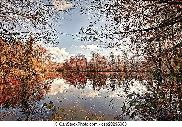 panorama of autumn trees at a glassy lake - csp23236060