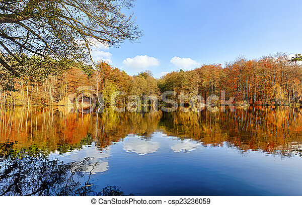 panorama of autumn trees at a glassy lake - csp23236059