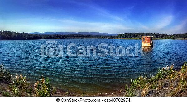Panorama of Big lake at the mountains - csp40702974
