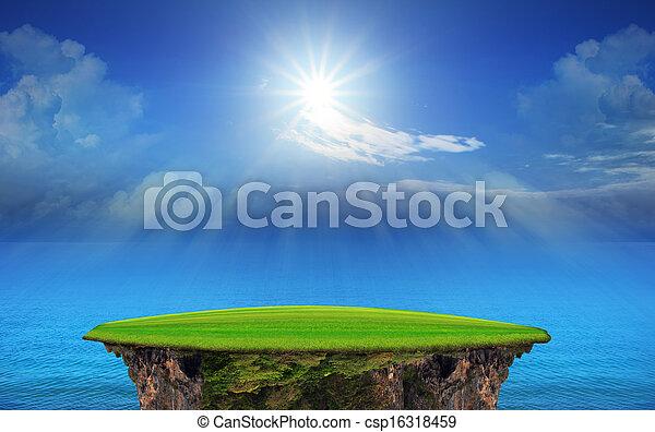 panorama of blue sky and sun shining - csp16318459