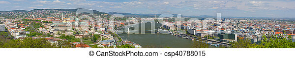 Panorama of Budapest in a cloudy day - csp40788015