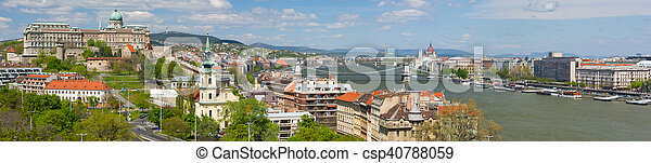 Panorama of Budapest in a cloudy morning - csp40788059