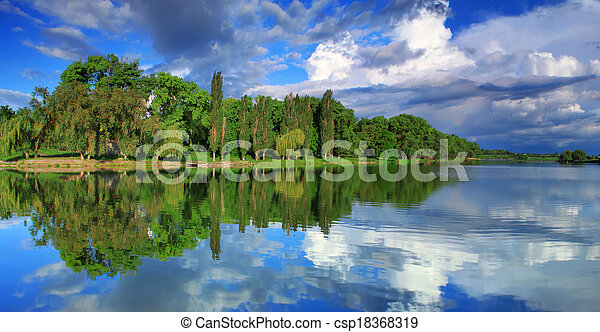 Panorama of cloudy sky reflection in the lake - csp18368319