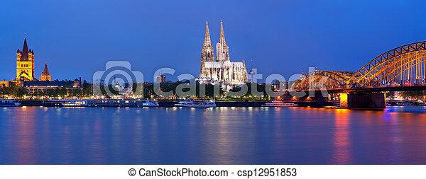 Panorama of Cologne at night - csp12951853