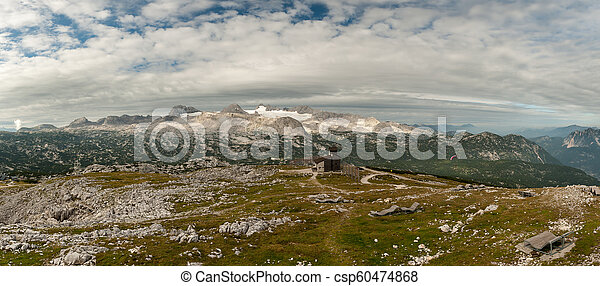 Panorama of Dachstein with glacier on a cloudy morning - csp60474868