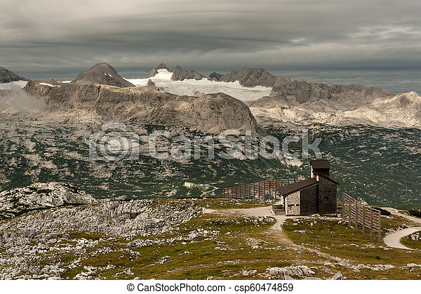 Panorama of Dachstein with glacier on a cloudy morning - csp60474859