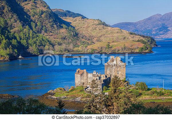 Panorama of Eilean Donan Castle in Highlands of Scotland - csp37032897