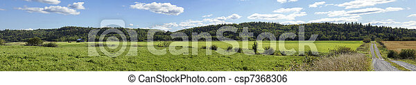 Panorama of fields in rural Canada - csp7368306